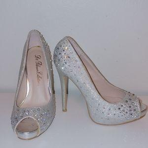 Crystal encrusted peep toe heels